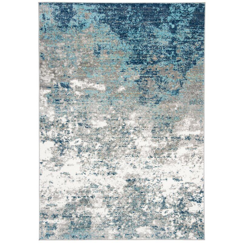 Muro Abstract Ivory Blue Area Rug Area Rugs Blue Area Blue Area Rugs