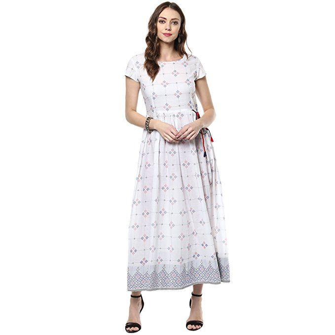 18300ba09e Indian Virasat Women's Beautiful Printed Cotton Flaired Anarkali X-Small  White Tunic Kurti