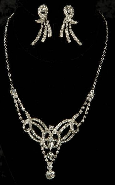 Silver Ribbon Design Rhinestone Bridal Drop Necklace Earring Jewelry Set