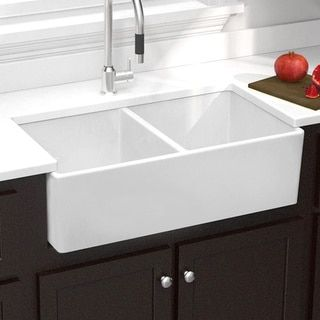 Highpoint Collection Double Bowl Fireclay Farmhouse Sink (Highpoint Double  Bowl Fireclay Sink), White, Size Less Than 18