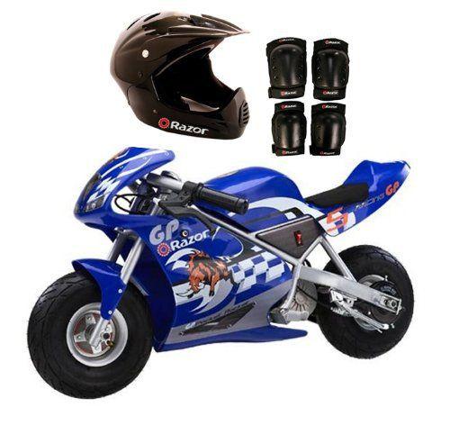 Razor Blue Pocket Rocket With Black Sport Helmet And Pad Set