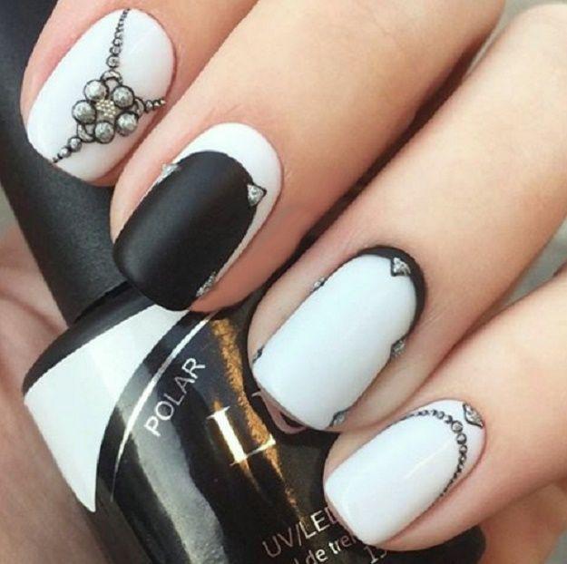 Most Elegant Black And White Nail Designs For Short Nails Black