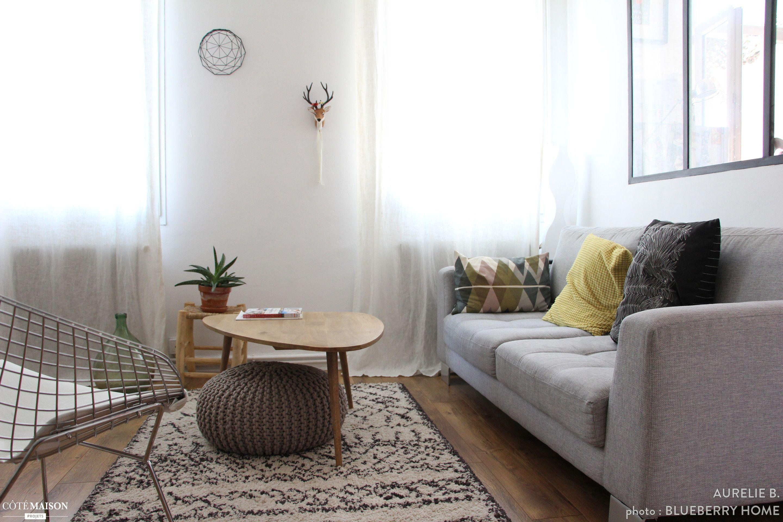 Un salon chaleureux esprit scandinave avec verri re d 39 int rieur curtains en 2019 - Salon chaleureux ...