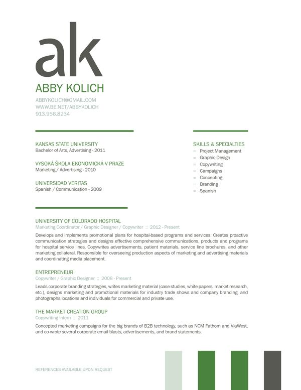 Great use of initials as a bold statement on the top of the resume - copywriter advertising resume