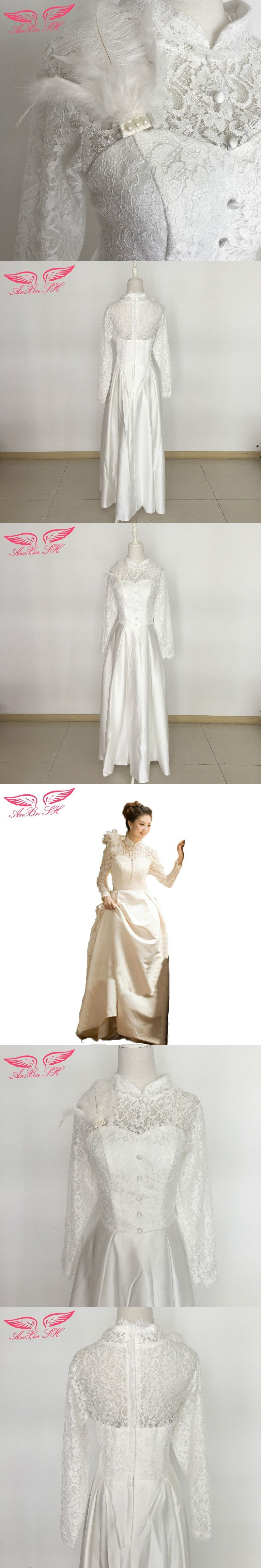 Anxin sh spring bridal wedding dress korean long sleeve lace wedding