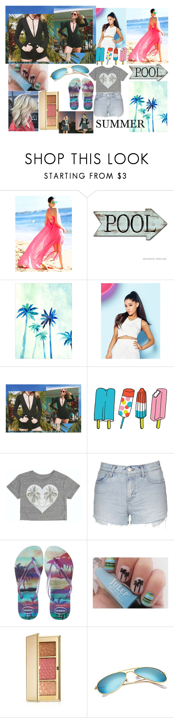 """""""Summer Outfit"""" by sukh-deol ❤ liked on Polyvore featuring Lipsy, Tattly, Billabong, Topshop, Havaianas and Estée Lauder"""
