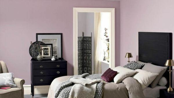 Schlafzimmer Altrosa Wandfarbe Elegant