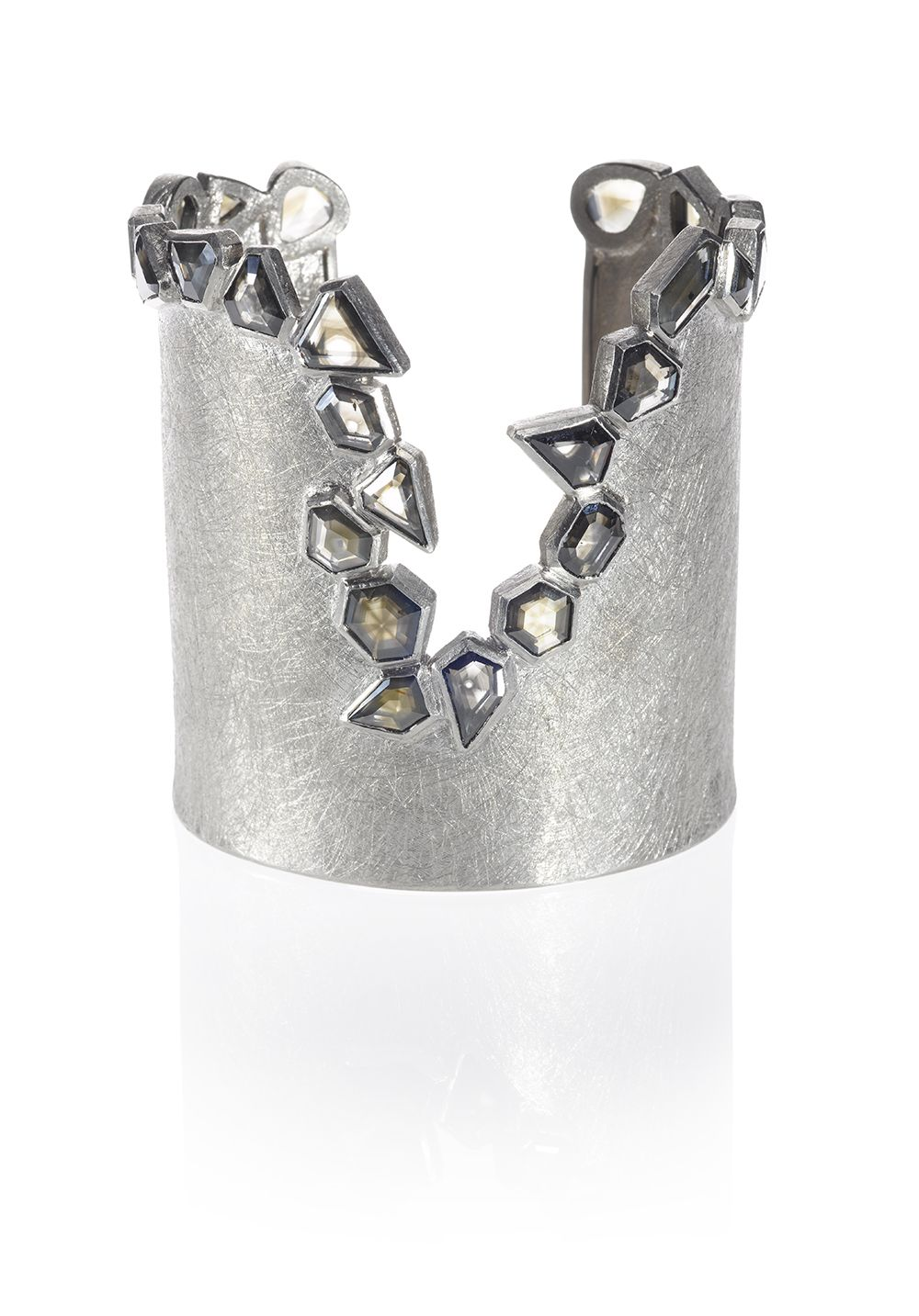 One of toddus latest cuff designs palladium with faceted diamonds