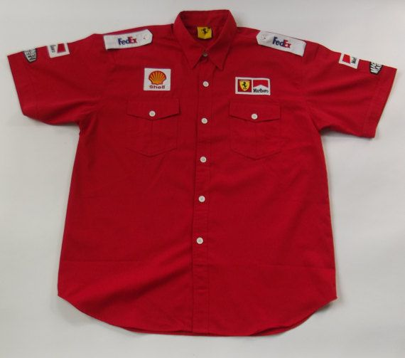 vintage Ferrari formule 1 shirt pit crew stijl door ProfessorVintage