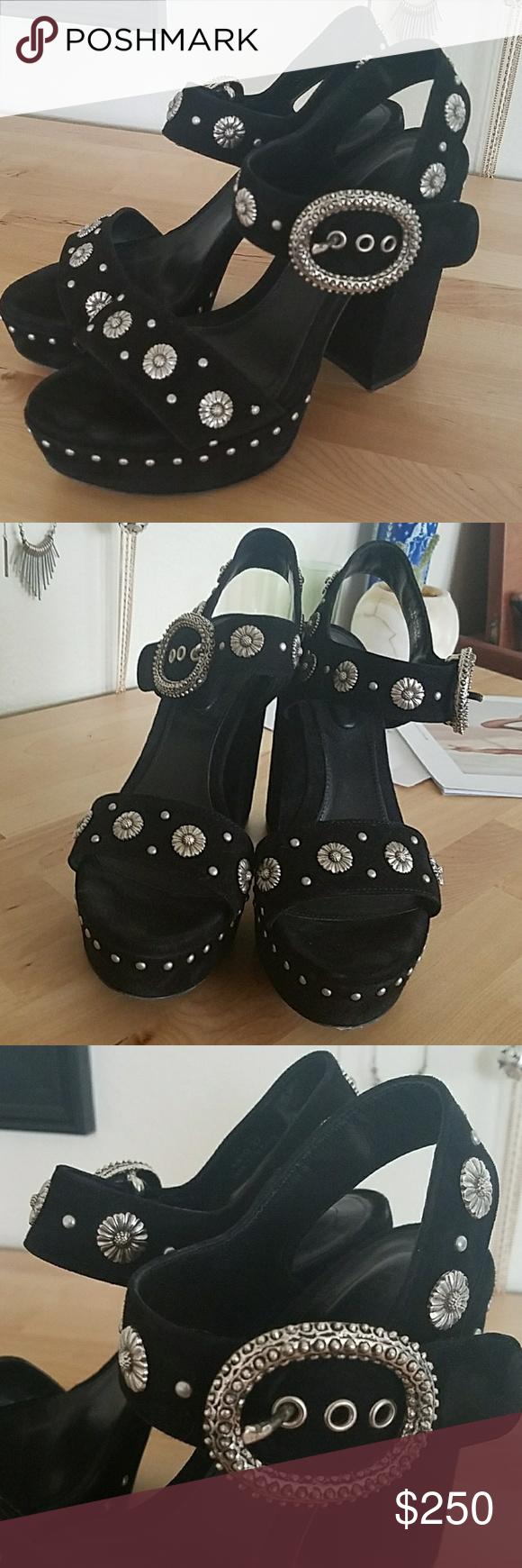 The Kooples heels Super fun and funky platform heels by The Kooples. Daisy hardware and fun metal buckles and nailhead detailing. Love these! Worn only a couple of times. Comes with box and dustbag. The Kooples Shoes Platforms