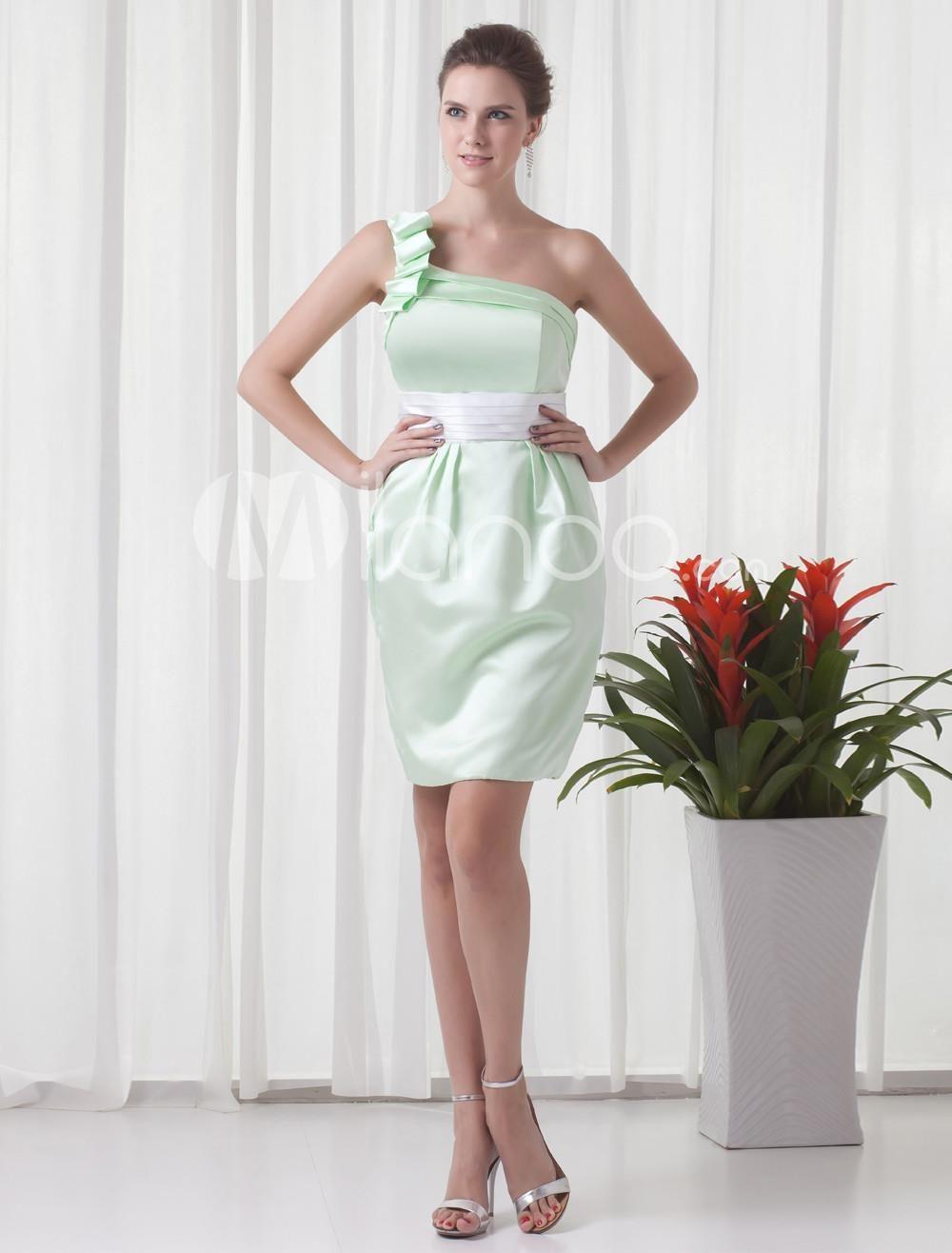 Sheath Green Satin One-Shoulder Short Bridesmaid Dress. Sheath Green ...