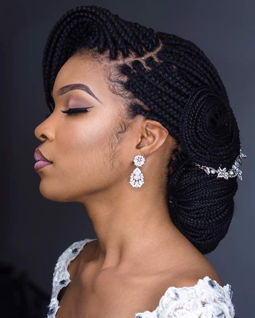 Talk Of Unique Bridal Updos These Unconventional Braided Updos Braids And Yarn L Black Wedding Hairstyles Braided Hairstyles For Wedding Natural Hair Bride