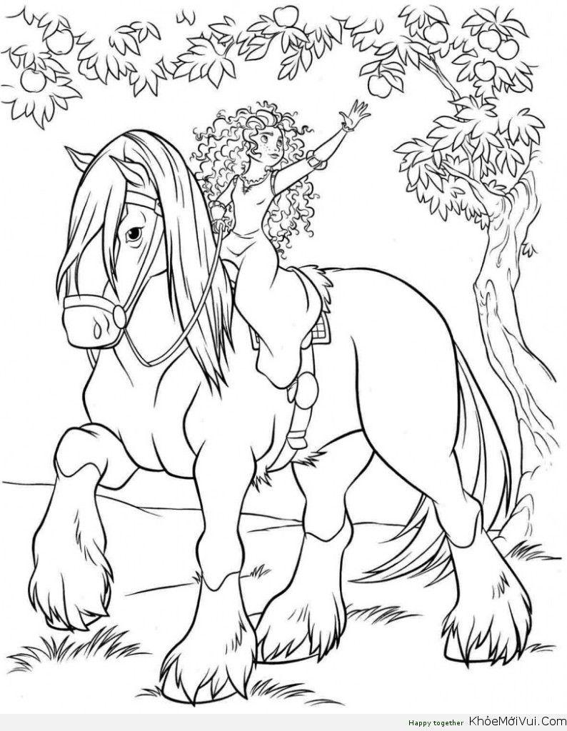 14 Tranh To Mau Cong Chua Dũng Cảm Khỏemớivui Com Horse Coloring Pages Princess Coloring Pages Disney Princess Coloring Pages [ 1024 x 794 Pixel ]