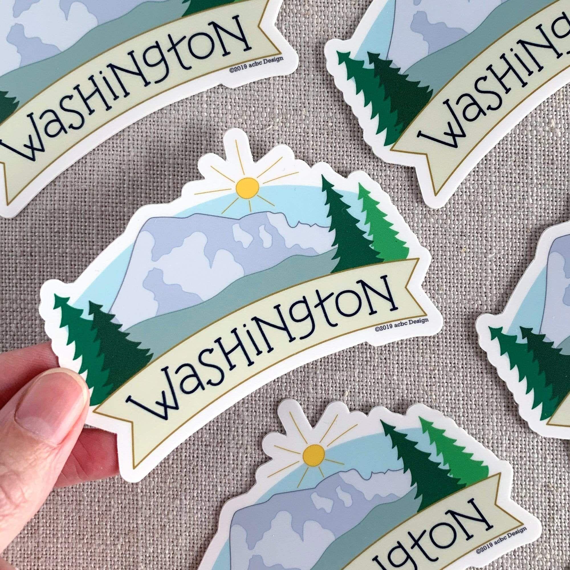 Washington Mt Rainier Vinyl Sticker Vinyl Sticker Design Cool Laptop Stickers Hippie Sticker [ 2000 x 2000 Pixel ]