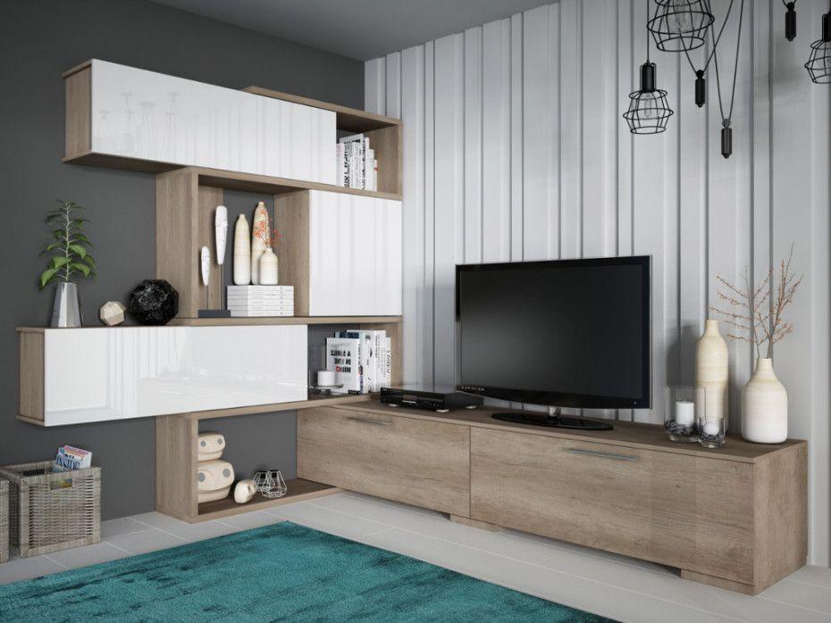 Mur Tv Modulable Nicosia Avec Rangements Chene Blanc Meuble Tv Rangement Meuble Rangement Salon Amenagement Salon