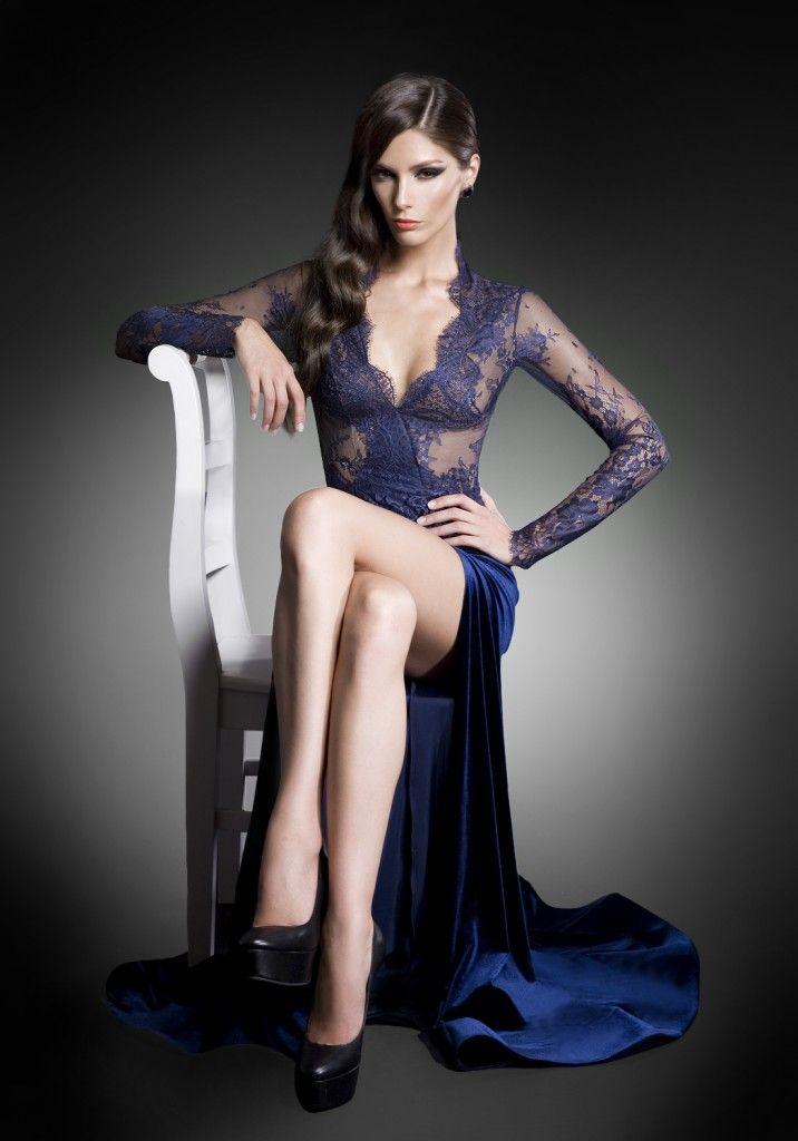 Sensual navy blue lace top and velvet skirt evening dress ...