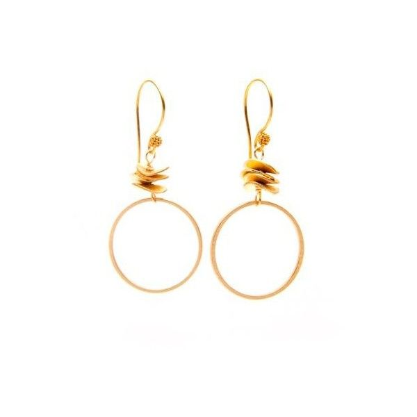 Matte Gold Circle Earrings by Vivien Walsh