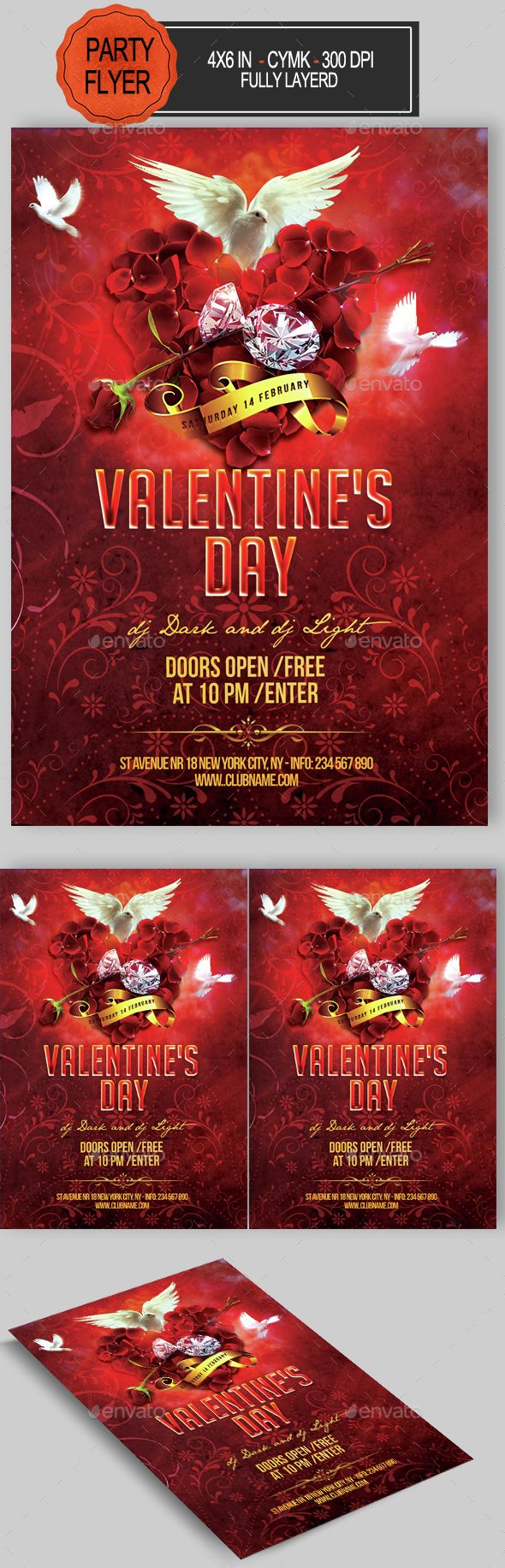 Valentine's Day Flyer — Photoshop PSD #anniversary #color • Available here → https://graphicriver.net/item/valentines-day-flyer/14561716?ref=pxcr