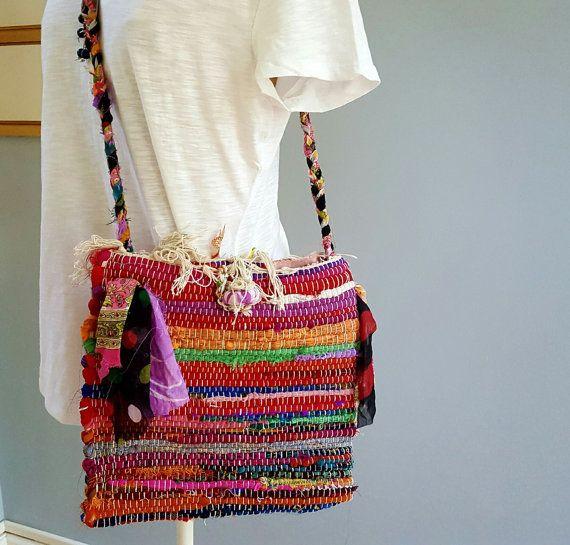 Rag rug  bag small crossbody bag messenger bag by DesignsEntwined