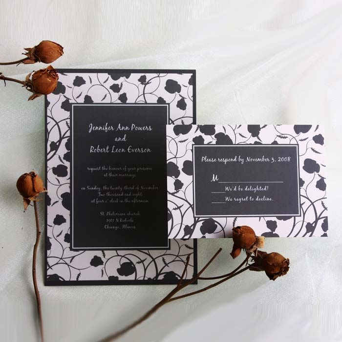 black and white vintage floral online wedding invitation EWI054 ...