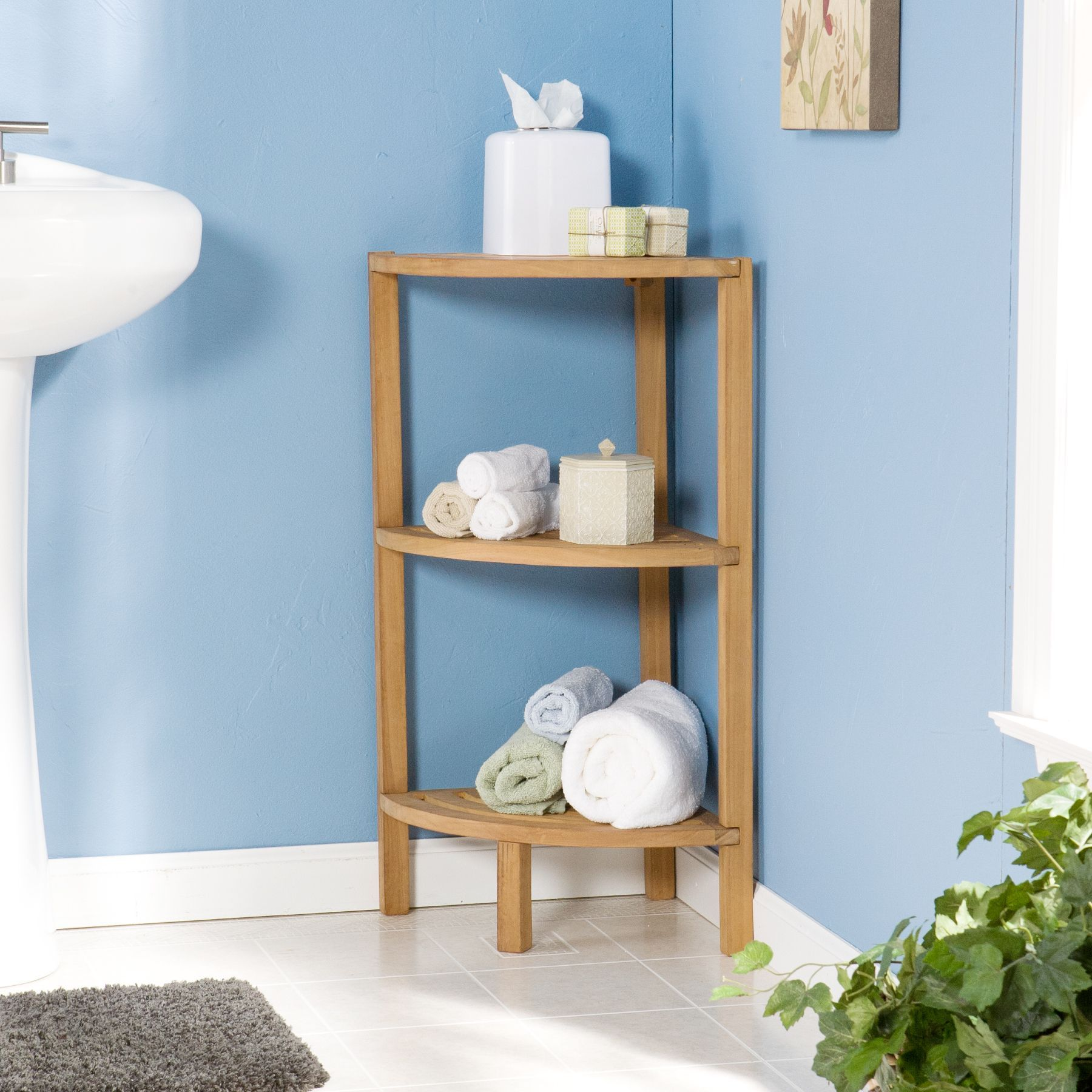 Upton Home Three Tier Teak Corner Tower | Corner Bathroom Storage ...