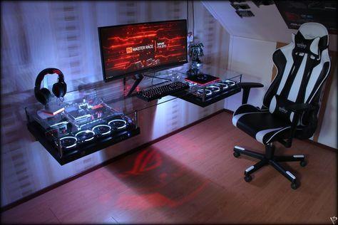 Desk Mod Watercooled Pc Thermaltake Core P5 Riing Fans Pc Tisch Mit Wasserkuhlung Game Room Design Game Room Kids Game Room