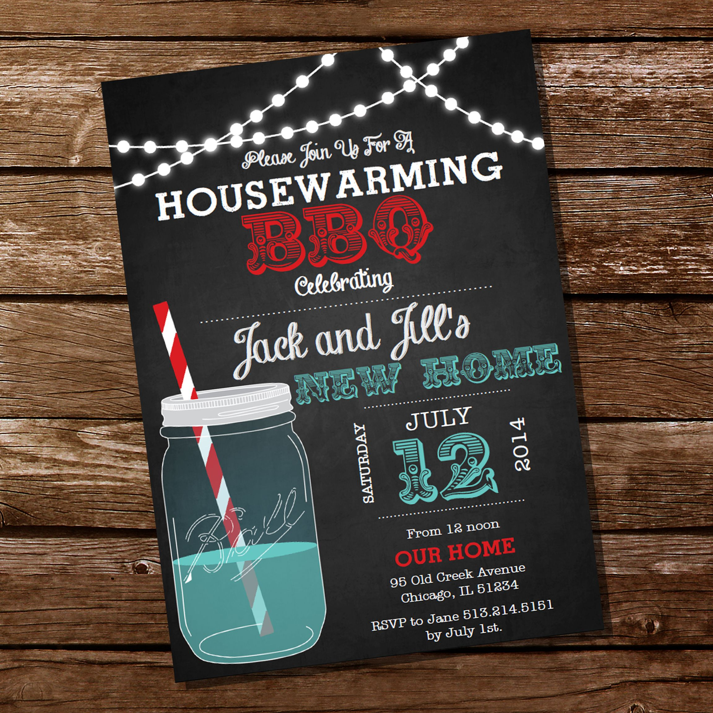 Housewarming Mason Jar BBQ Grill Party Invitation | Chalkboards ...