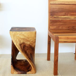 12 Inches Square X 20 Inch Wooden Hand Carved Walnut Oil Twist Stool