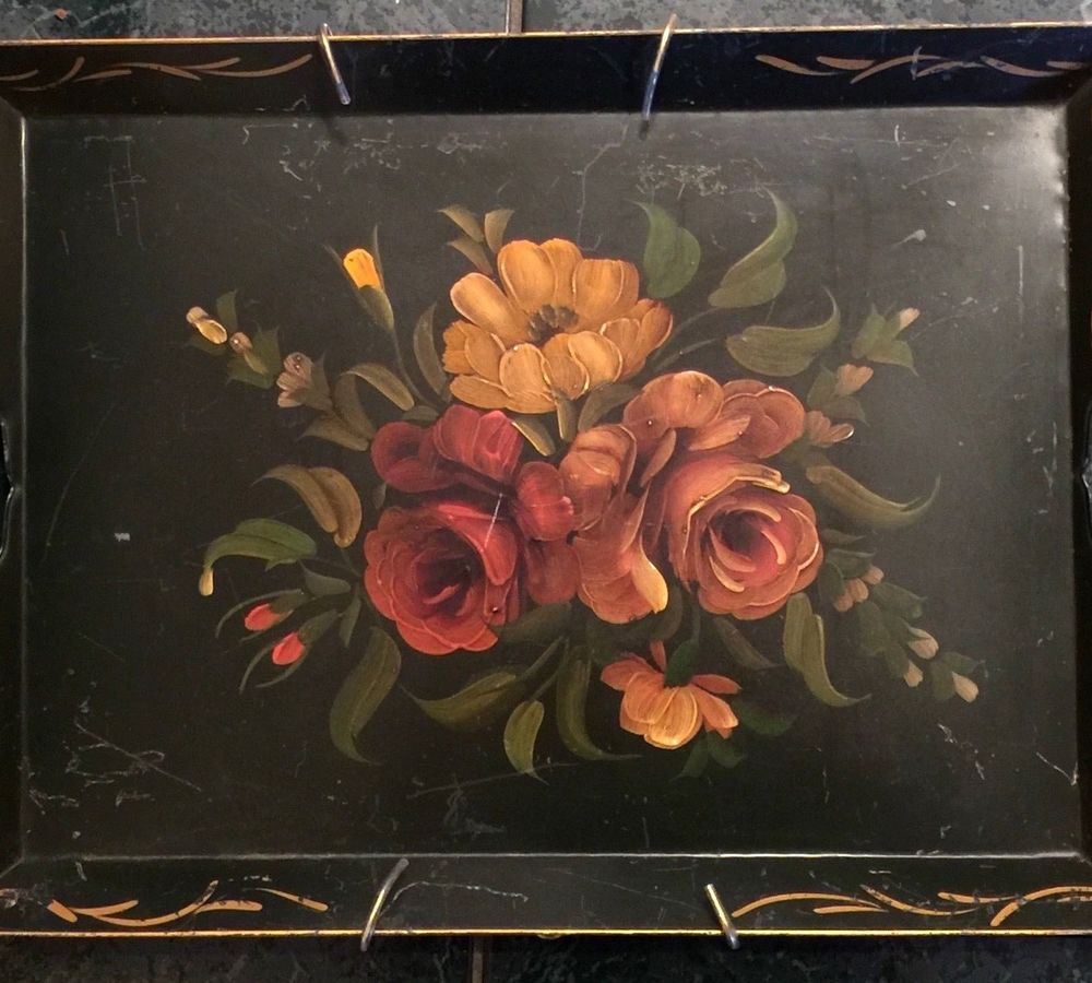 Vintage tole tray hand painted wall hanger black gold roses