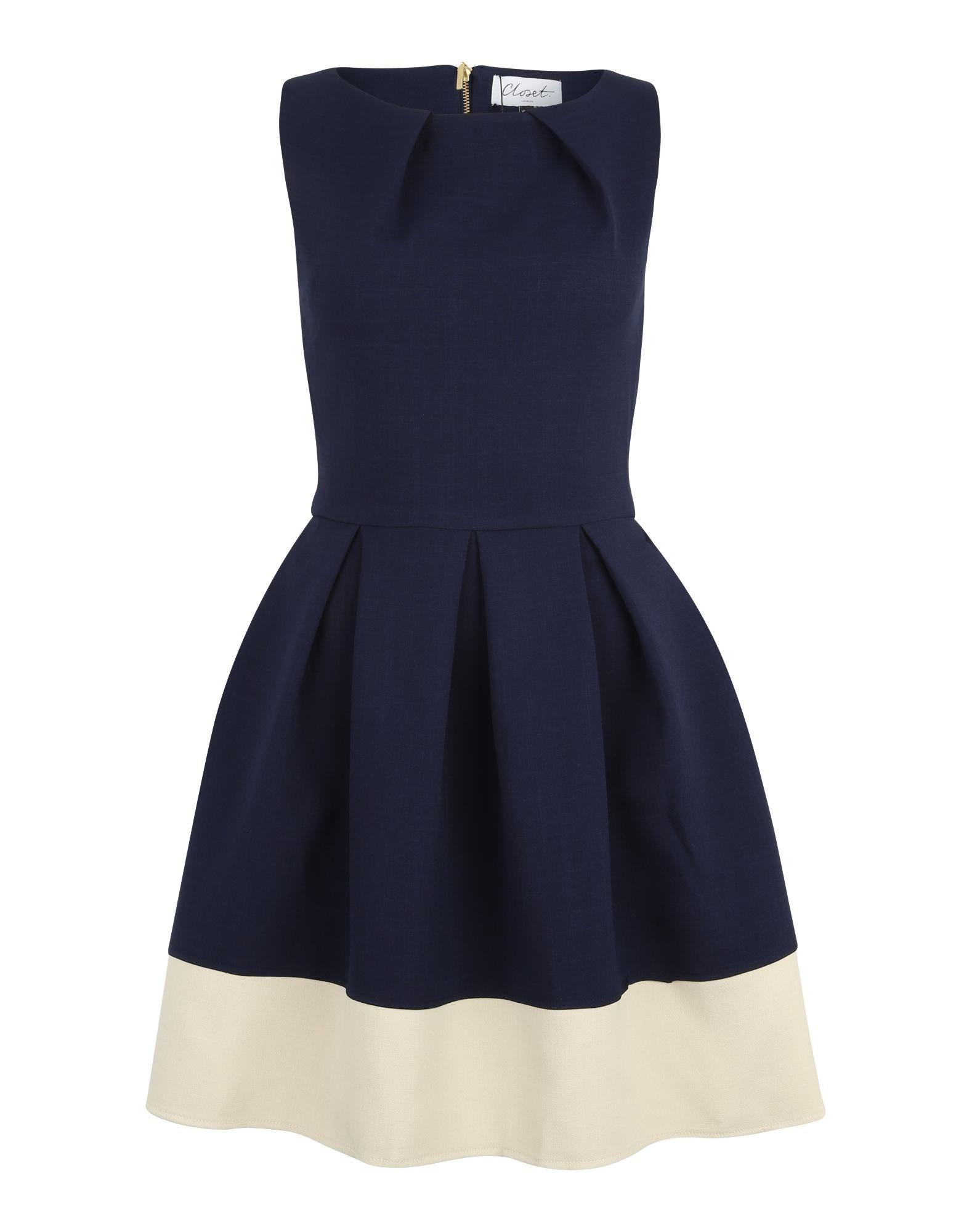 closet london figurbetontes kleid mit spitze in navy bei