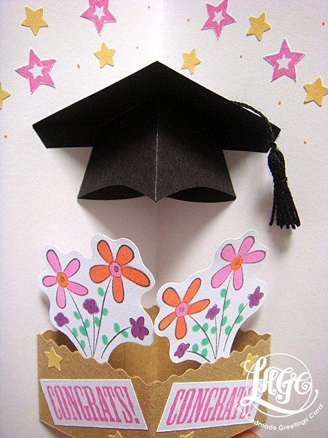 Lin Handmade Greetings Card Pop Up Graduation Hat Card Pop Up Cards Diy Pop Up Cards Pop Up Christmas Cards