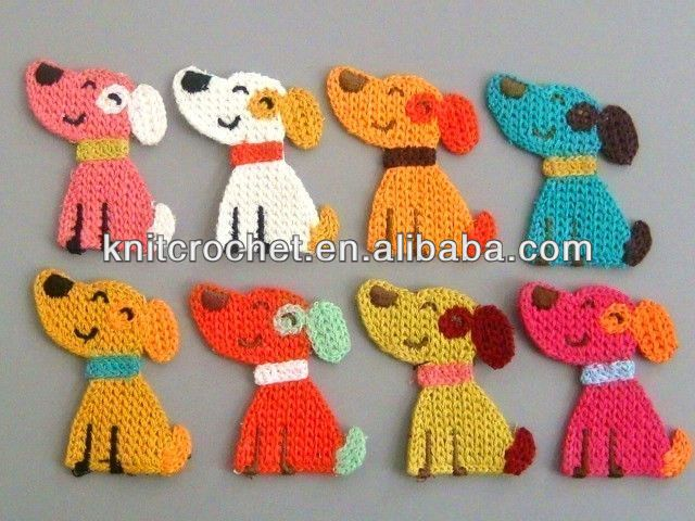 Crochet puppy doggy applique embroidered animal applique