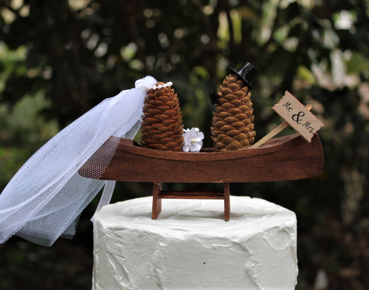 Fishing cake topper wedding fishing boat pinecone