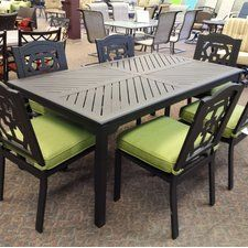Malibu Aluminum Slat 6 Piece Dining Set With Cushion Outdoor Dining Spaces Outdoor Furniture Sets Patio Dining Set