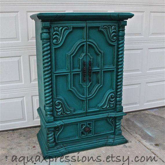Vintage Armoire /Gypsy Teal / Bedroom Furniture/ Distressed /Black Drawer  Pulls/ TV