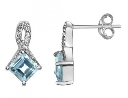 Aquamarine Earrings with Diamonds 1/4 Carat (ctw) in 10K White Gold
