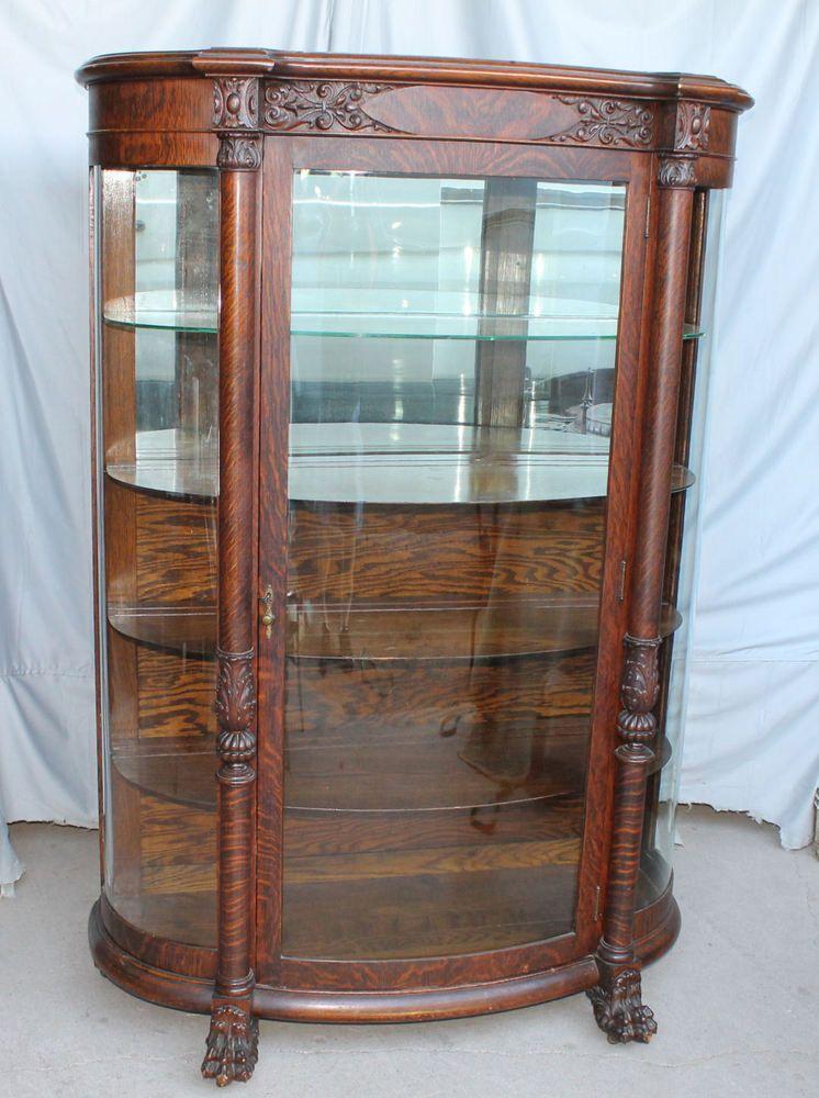 Antique Oak Curved Curio China 1900sOak (With