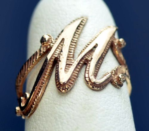 Rose gold plated letter Initial M ring jewelry Silver eBay