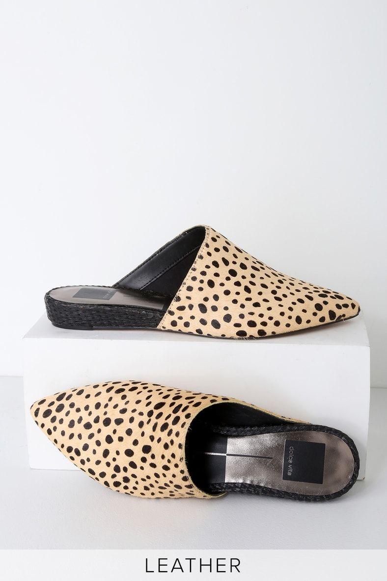 9a302ef2cdcd Ekko Leopard Calf Hair Pointed-Toe Slides in 2019