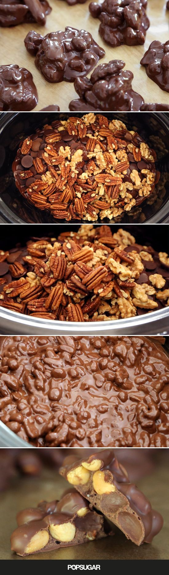 Check out Crockpot Chocolate-Nut Clusters. It's so easy to make ...