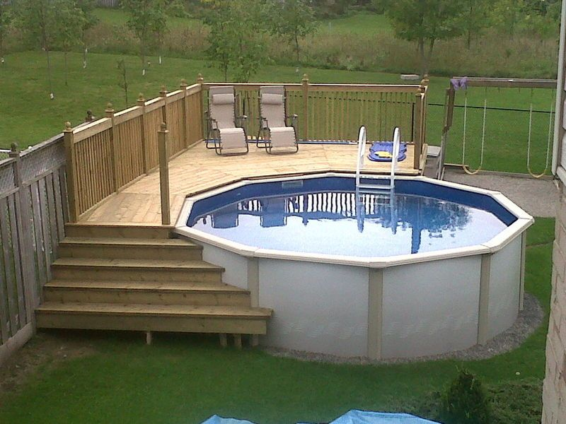 Pool deck with left stairs meeting lower deck and also for Above ground pool decks for small yards