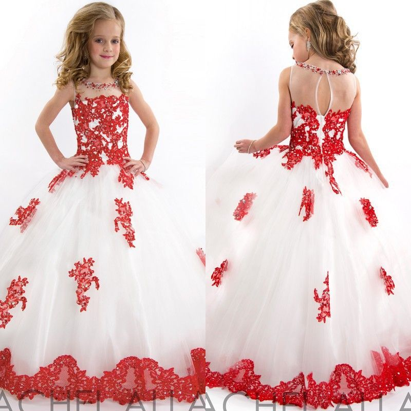2015 new little girls pageant dresses red and white tulle ball gown beaded lace applique princess