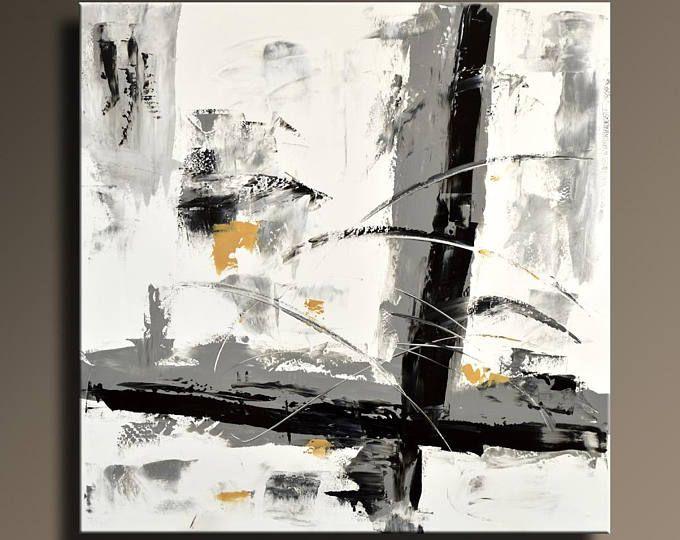 Moderne Kunst Bilder Schwarz Weiss ~ Abstrakte malerei schwarz weiß grau gold malerei original leinwand