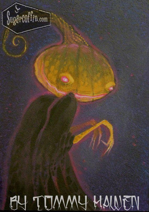 Halloween Spook 5 x 7 masonite original acrylic painting tim burton - tim burton halloween decorations
