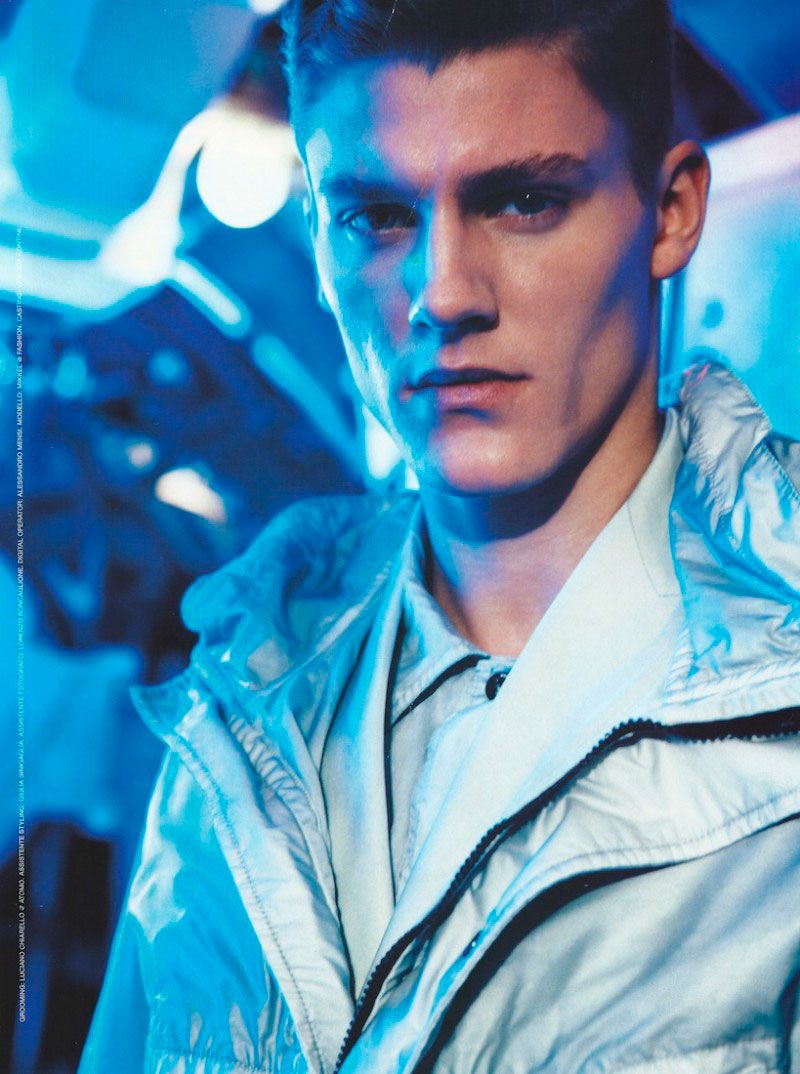 Mikkel Jensen went to space for this editorial lensed by Adriano Russo and styled by Elisa Anastasino for the February 2013 issue of GQ Italia.