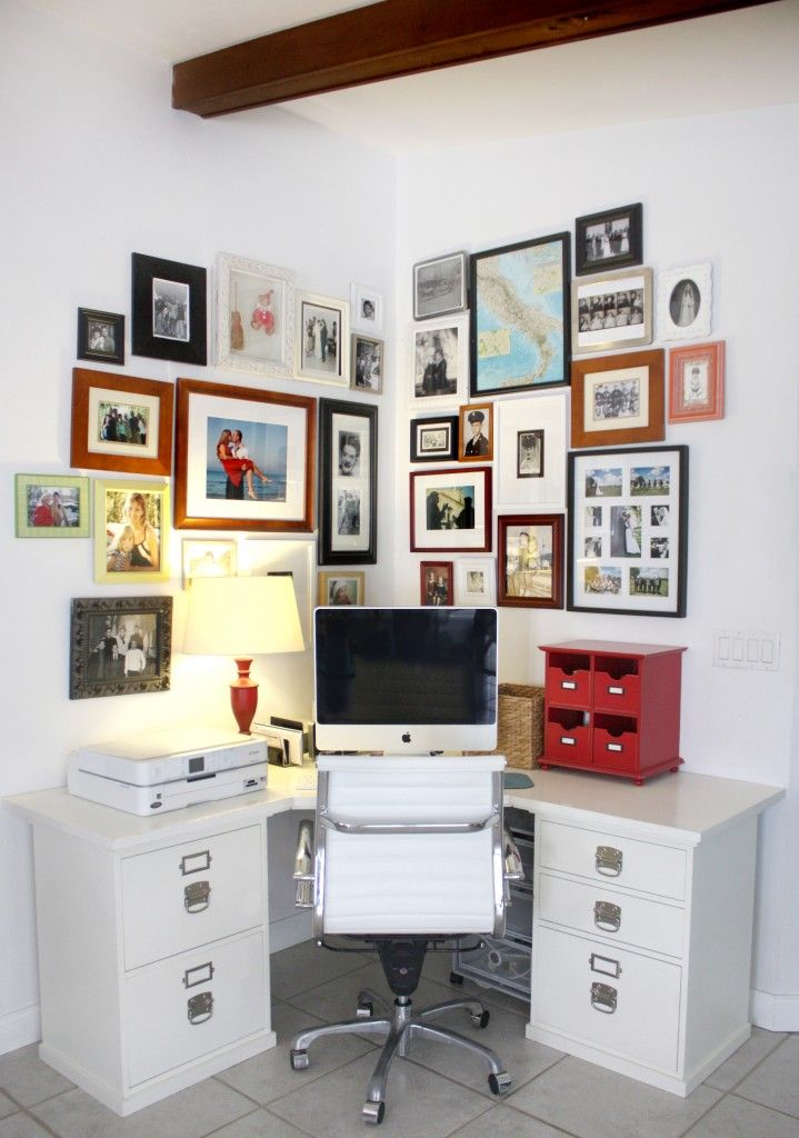 Home office with photo wall house mix decor diy - Home office furniture ideas ...