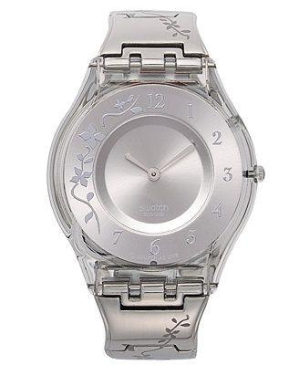 Swatch Watch, Women's Swiss Climber Flowery Flower Engraved Stainless Steel Bracelet 34mm SFK300G