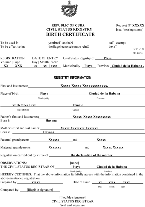 Spanish To English Birth Certificate Translation Template (2