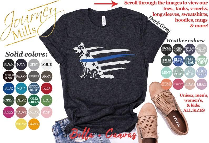 Thin Blue Line Police Dog Flag Shirt Tank Top V Neck Etsy Gray Hoodies Long Sleeve Sweatshirts Unisex Sweatshirt