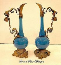 Pair of Superb Tall French 19th Century Blue Opaline Ewers from Grand Tour Antiques on Ruby Lane
